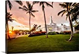 greatBIGcanvas Gallery-Wrapped Canvas entitled Kona Hawaii Temple, Rear View with Palm Trees, Kailua, Hawaii by Scott Jarvie 60''x40''