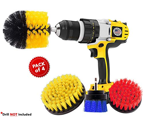 4 Piece Power Drill Brush, Power Scrubber Attachment Set for Cleaning, All Purpose Cleaning Brushes for Bathroom, Grout, Shower, Pool Tiles, Flooring, Tub, Ceramic, Grout, Kitchen Surfaces, Corners