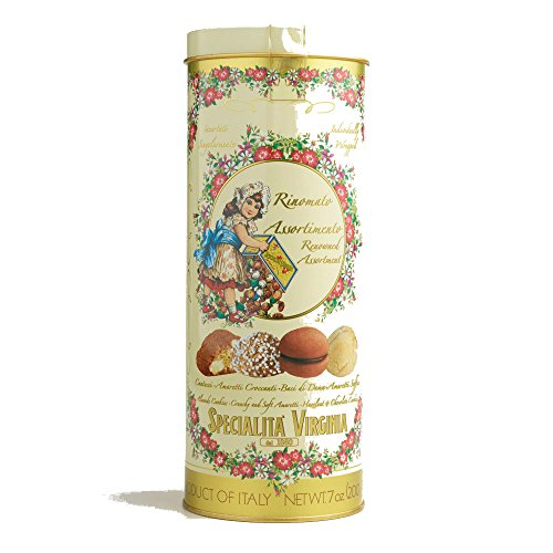 Specialita Virginia Assorted Italian Cookies with Tin - Cantucci, Amaretti, Baci di Dama, 200g, Product of Italy