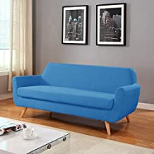 Mid Century Colorful Linen Fabric Sofa, Loveseat in Colors Yellow, Purple, Red, Blue (Blue, Sofa)