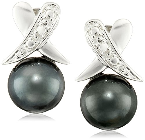 Sterling Silver Illusion X-Style 8-9mm Black Round Tahitian Cultured High Luster Pearl Stud Earrings