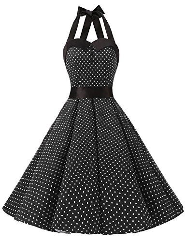 Dressystar Vintage Polka Dot Retro Cocktail Prom Dresses 50's 60's Rockabilly Bandage Black -