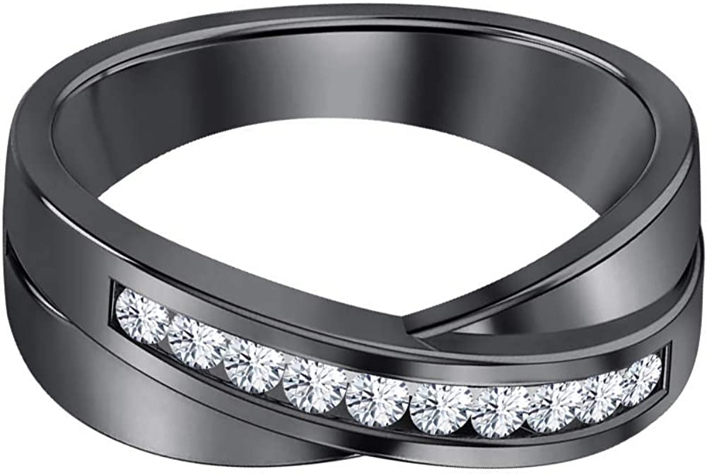 SVC-JEWELS 14K Black Gold Over 925 Sterling Silver Round Cut White Sapphire Criss Cross X Wedding Band Ring Men
