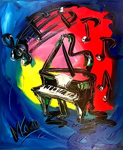 GRAND PIANO art Modern Abstract Impressionist Art Deco - Oil Painting on Canvas- Signed with Certificate of Authenticity-size 20 X 24, Fine Arts, Stretched - Gallery Wrap - Ready to Display