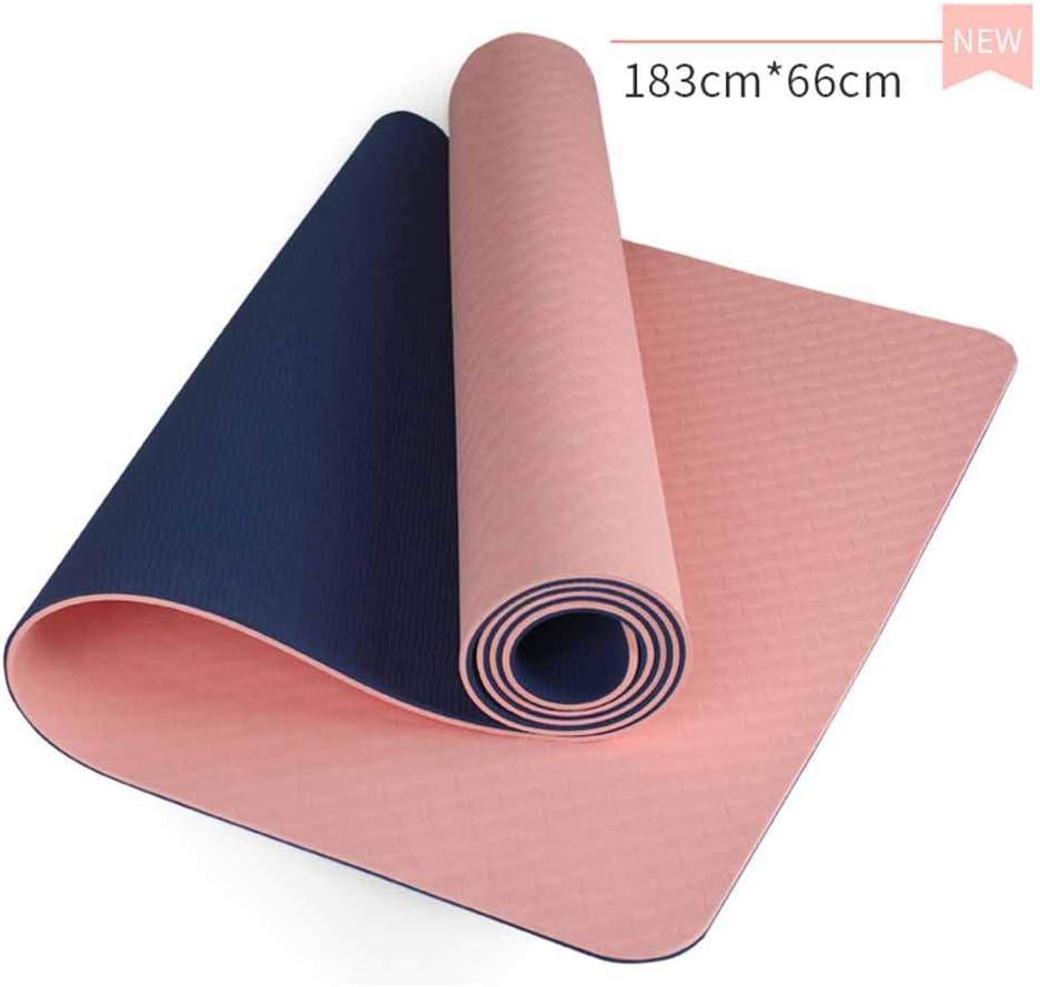 183 x 66x 0,6 cent/ímetros,Rosado Alfombrillas de Pilates antideslizantes con dise/ño de doble color Sistema de alineaci/ón del cuerpo Antideslizante duradero y ligero Core Balance TPE Yoga Mat