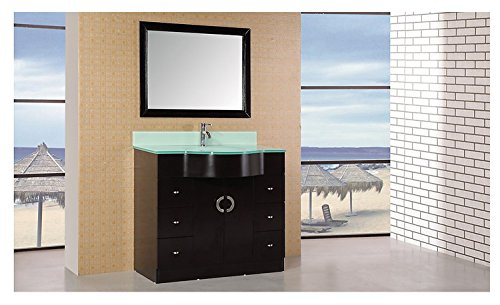 Design Element Aria Single Integrated Drop-In Tempered Glass Sink Vanity Set, 40-Inch