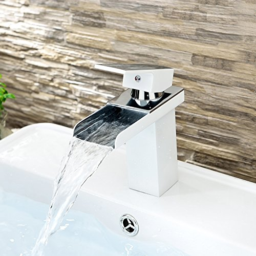 Zingcord Contemporary White Baking Finish Luxury Centerset Single Handle LED Color Change Waterfall Bathroom Sink Faucet by Zingcord