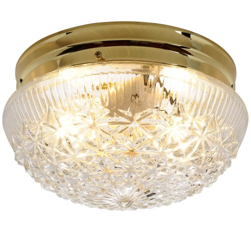 AF Lighting 671311 9-Inch D by 5-Inch H Diamond Cut Glass Ceiling Fixture, Polished Brass (Art Deco Ceiling Light Fixture)