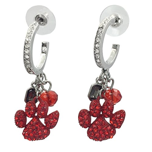 (Paw Print Dangle Charm School Spirit Mascot Rhinestone Hoop Stud Post Earrings (Red))