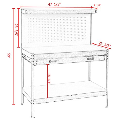 Goplus Steel Workbench Tool Storage Work Bench Workshop Tools Table W/ Drawer and Peg Board,Red by Goplus (Image #1)