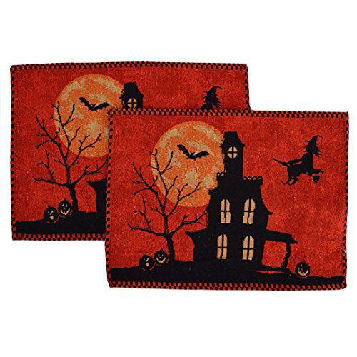 Felice Halloween Night Witch Tapestry Placemats Set of 2 Dinning Table