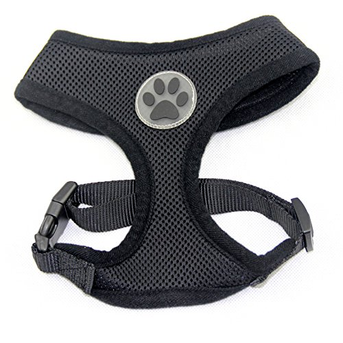 BINGPET BB5001 Soft Mesh Dog Harness Pet Walking Vest Puppy Padded Harnesses Adjustable, Black Medium by BINGPET