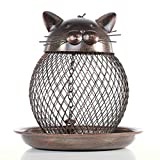 Wild Bird Feeder, Premium Metal Squirrel Proof Bird Feeder Cat Shape Art with Hanging Chain Decor for Outdoor Indoor (Bronze)