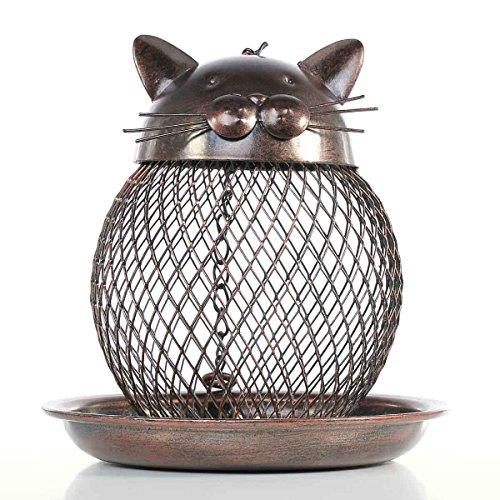 (SEEYANG Wild Bird Feeder, Premium Metal Squirrel Proof Bird Feeder with Hanging Chain Decor for Garden Outside Inside (Bronze))