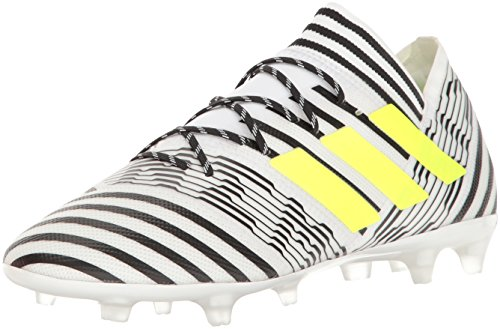 adidas Men's Nemeziz 17.2 Firm Ground Cleats Soccer Shoe, White/Solar Yellow/Black, ((8 M US)