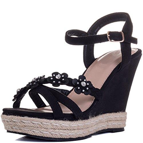 Spylovebuy Sedulous Women's Diamante Flower Wedge Heel Platform Sandals Shoes Black Suede Style
