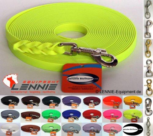 BioThane® Schleppleine 16 mm in 24 Farben [Neon-Gelb] / 1-30 Meter [5m] / geflochten / ohne Handschlaufe