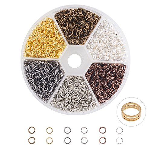 PandaHall Elite 1 Box 6 Colors About 2300 Pcs Iron Plated Jump Rings Unsoldered 5mm Diameter Wire 21-Gauge Jewelry Making Findings]()