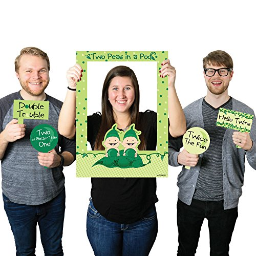 Big Dot of Happiness Twins Two Peas in a Pod Caucasian - Birthday Party or Baby Shower Photo Booth Picture Frame & Props - Printed on Sturdy Material (Twins Pod Peas Two)