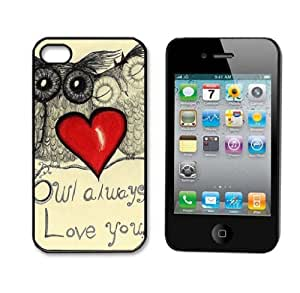 ABC 1pcs Fashion Snap on Hard Plastic Case Cover for Iphone 4 4g 4s (Owl Always Love you)