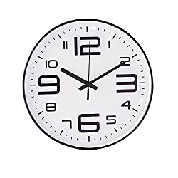 Kinger_Home Kids Wall Clock- 10 Silent Non Ticking Quality Quartz Battery Operated Wall Clock, Easy To Read 3D Numbers (White-black Profile)
