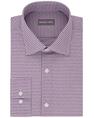 Michael Kors Mens Regular Fit Airsoft Non-Iron Dress Shirt 15 32/33 Berry Check