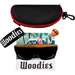 Woodies Zebra Wood Aviator Wrap Sunglasses with Black Polarized Lenses 12 COMFORTABLE: Handmade from REAL Zebra Wood (50% Lighter than Ray-Bans) EXTRAS: Includes FREE Carrying Case, Lens Cloth, and Wood Guitar Pick PROTECTION: Polarized Lenses Provide 100% UVA/UVB Protection