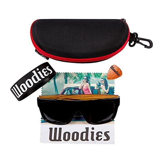 Woodies Zebra Wood Aviator Wrap Sunglasses with Black Polarized Lenses 4 COMFORTABLE: Handmade from REAL Zebra Wood (50% Lighter than Ray-Bans) EXTRAS: Includes FREE Carrying Case, Lens Cloth, and Wood Guitar Pick PROTECTION: Polarized Lenses Provide 100% UVA/UVB Protection