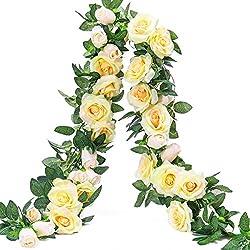 Party Joy Vintage Artificial Silk Rose Flower Bouquet Wedding Party Home Decor,Park of 10