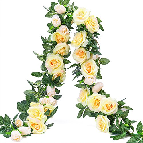 Rose Garden Fabric - PARTY JOY 6.5Ft Artificial Rose Vine Silk Flower Garland Hanging Baskets Plants Home Outdoor Wedding Arch Garden Wall Decor,2PCS (Champagne)