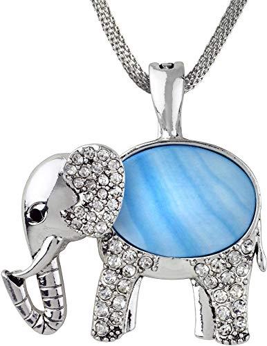 - Wearable Art by Roman Blue Shell Elephant Pendant Necklace Blue/Silver Tone