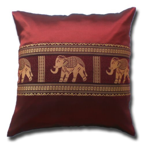 - by soljo - Pillow Cover Case Cushion *** many colors *** Thai Silk THROW 41 cm x 41 cm ELEPHANTS elegant nice beautiful (red)