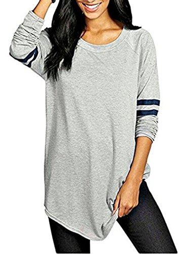 Ours Womens Oversize Casual Color Block Tunic Tops Stripe Long Sleeve T-Shirt Blouses (XXL, Gray (Update Version))