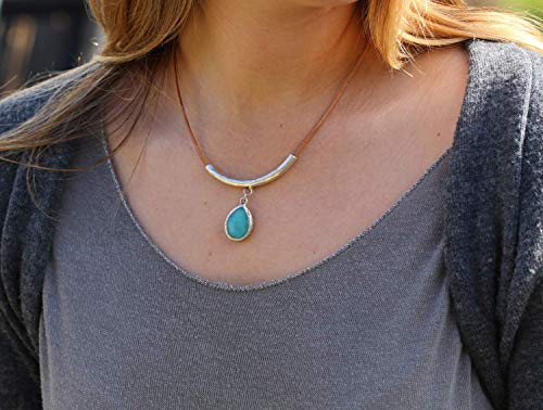 (Turquoise Jade Teardrop Necklace for Women, Silver Plated Brass Pendant on a Leather Cord, Boho Handmade Designer Jewelry Birthday Gift)