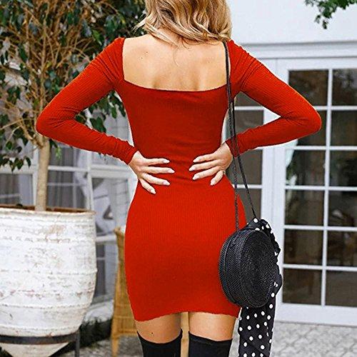 lunga pannello manica lunga tuta Vestito Vintage da a donna Rosso Donna Manica Ode lunga scollo dell'anca corto Joy Abito esterno manica Abiti quadrato della a del con pacchetto AawqBY
