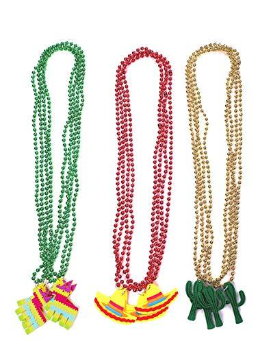 Cinco de Mayo Fiesta Necklaces Bead- Mexican Birthday Party Favors Supplies Decorations ()