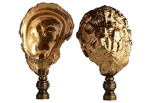Solid Brass Seashell (Golden Oyster Shell Lamp Finials on Antiqued Brass Bases - A Pair)