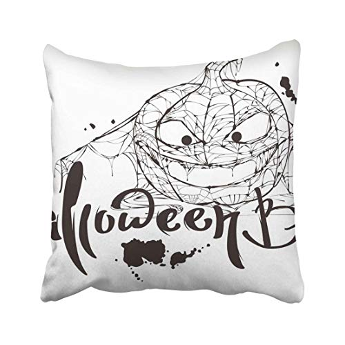 Emvency Black Halloween Boo Text Pumpkin Spider Silhouette Makes White for Blotch Calligraphy Cobweb Greeting Throw Pillow Covers 20x20 Inch Decorative Cover Pillowcase Cases Case Two Side -