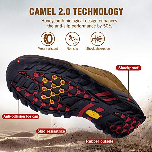 Lightweight Light Camel Shoes Men's Breathable Walking for Exploring Outdoor Khaki Camping Leather Trekking Women's Climbing Hiking qAxEAT46