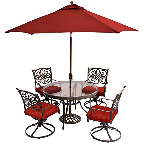 Hanover TRADDN5PCSWG-SU-R Traditions 5-Piece Dining Set in Red with 48 in. Glass-top, 9 Ft. Table, Umbrella Stand Outdoor Furniture For Sale