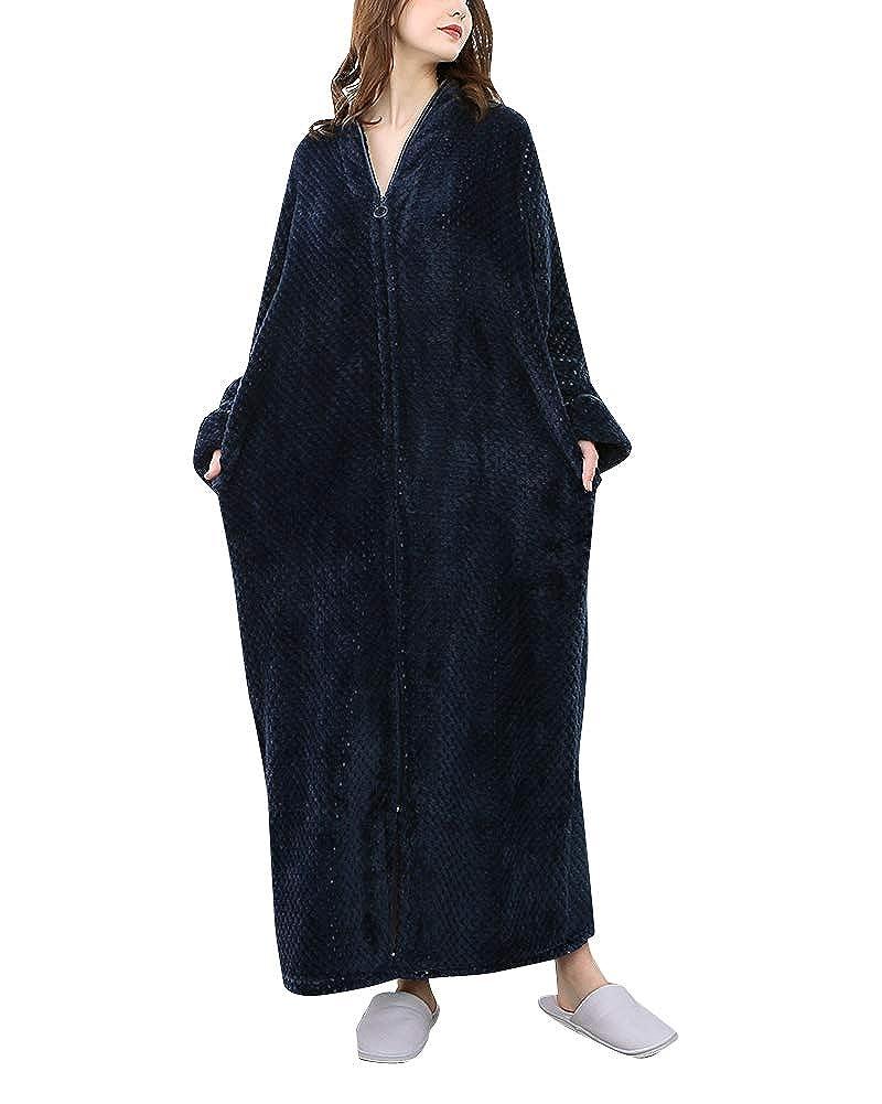 DianShaoA Unisex Ladies Soft Bath Robe Dressing Gown Full Length Fluffy Bathrobe Housecoat Nightwear Zip Up