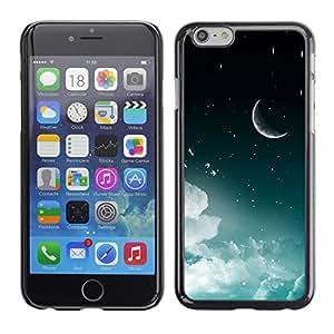 KOKO CASE / Apple Iphone 6 / luna espacio de media luna del cielo nocturno estrellas nubes / Delgado Negro Plástico caso cubierta Shell Armor Funda Case Cover
