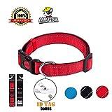 red collar - Reflective Dog Collar Padded Dog Collar – LukPaw Adjustable Dog Collar for Large Dog Medium Dog Nylon Collar Running Training Collar (RED)