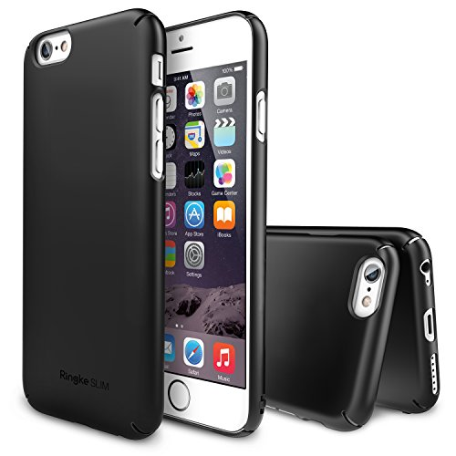 iPhone 6 Case, Ringke [SLIM] Snug Fit Slender [Tailored Cutouts][1 HD Screen Protector][SF BLACK] Lightweight Thin Scratch Resistant Coating Protective Cover for Apple iPhone 6 4.7 Inch (2014)