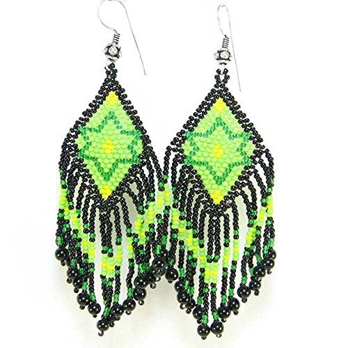 La vivia Handmade Green Black Seed Beads Beaded Chandelier Earrings Star Beadwork E14/6