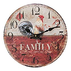 Happy Homewares Red and Ivory Chic Round MDF Wall Clock - Family Rooster | 12