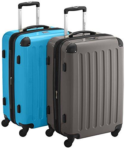 HAUPTSTADTKOFFER - Alex - 2er Koffer-Set Hartschale glänzend, TSA, 65 cm, 74 Liter, Graphit-Orange Graphit-cyanblau