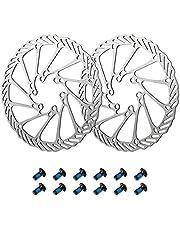 Newgoal fietsremschijf 160mm / 180mm 2 stuks RVS fietsremschijf met 12 schroeven, schijfremschijf fietsaccessoires