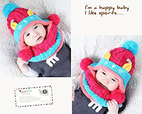 WSLCN Unisex Baby Kids Hats Handmade Knitted Scarf Caps Toddler Knitted Hoodie Winter Head Scarf Neck Warmer Cute Cat Hooded Scarf Hats Soft Plush Lining for 6 Months-2 Years Rose