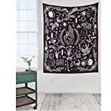 "Abstract Animal and Plant Pattern Art Design, Human Skull Black and White Tapestry Wall Hanging Dorm Decor (58""H x 65""W, Pattern)"